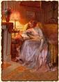 Чтение при свете лампы
