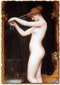 Венера, связывающая свои волосы